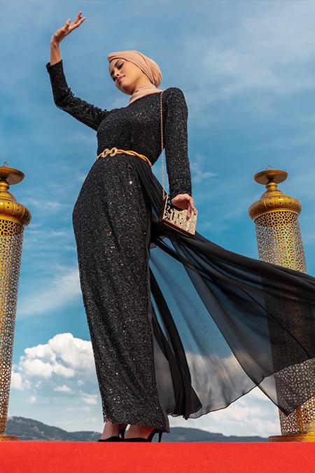 Tavin Siyah Şifon Detaylı Abiye Elbise
