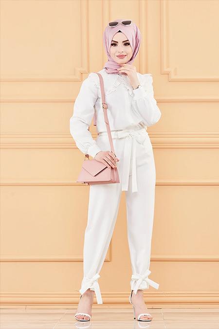 Tofisa Beyaz Kuşaklı Pantolon
