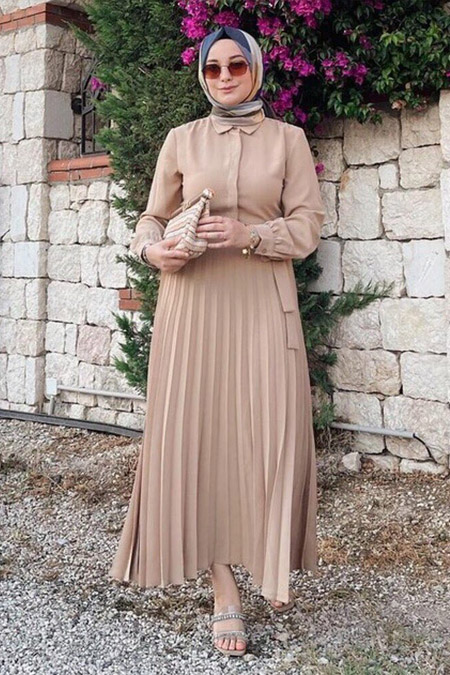 Refka Piliseli Bele Oturan Gömlek Elbise