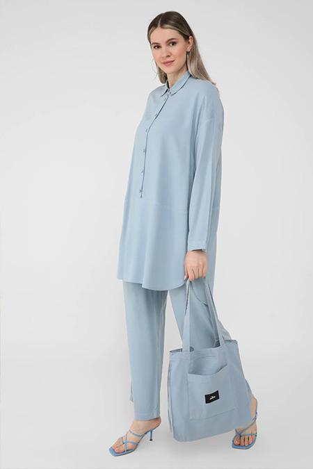 Alia Buzul Mavi Büyük Beden Doğal Kumaşlı Tunik&Pantolon İkili Takım