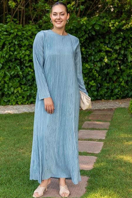 Alia Buzul Mavi Büyük Beden Pileli Elbise
