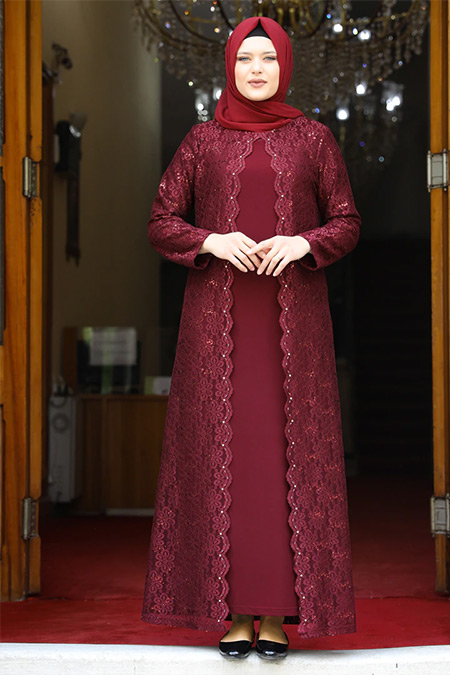 Amine Hüma Bordo Papatya Abiye Elbise