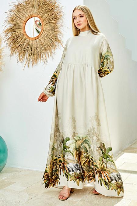 Ayşen Özen Bej Tropikal Elbise