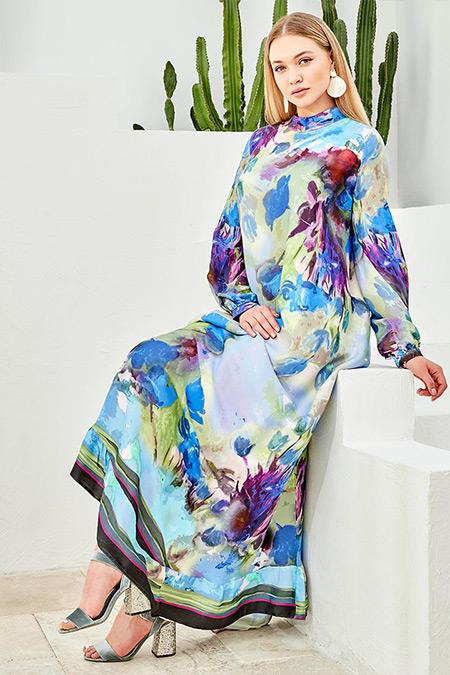 Ayşen Özen Mavi Garden Elbise