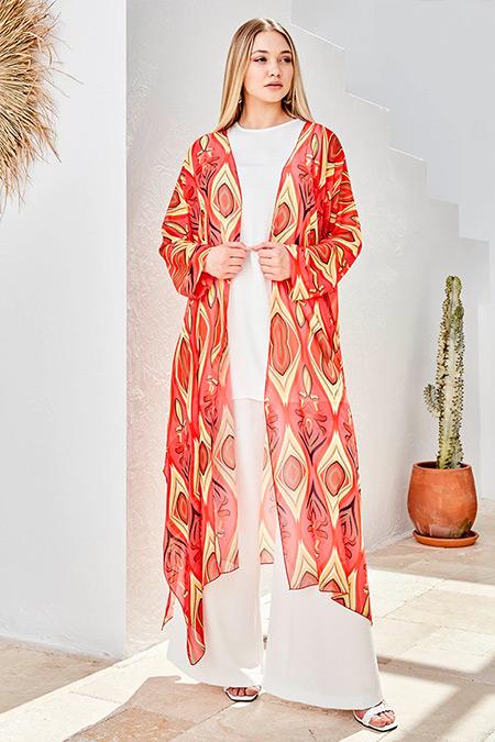 Ayşen Özen Mercan Şifon Kimono&Kolsuz Tunik İkili Takım