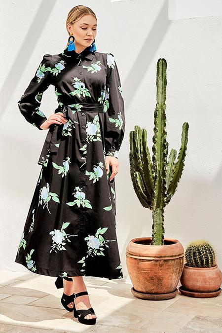 Ayşen Özen Siyah Astarlı Freya Elbise