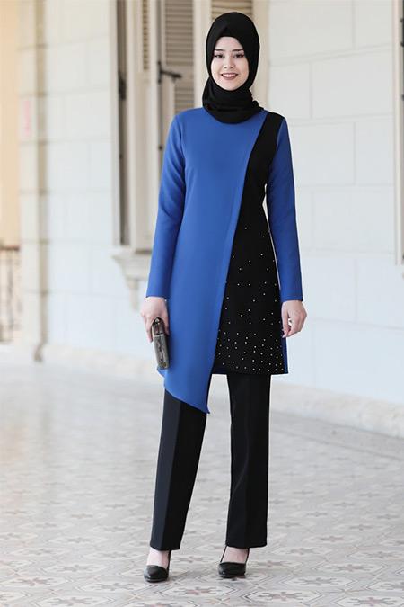 Azra Design İndigo Karaca Tunik&Pantolon Abiye İkili Takım
