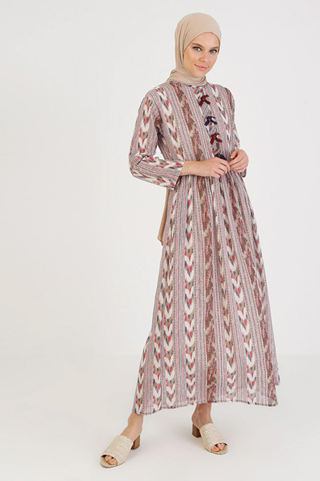 Elis Şile Bezi Çok Renkli Kilim Desenli Şile Bezi Elbise