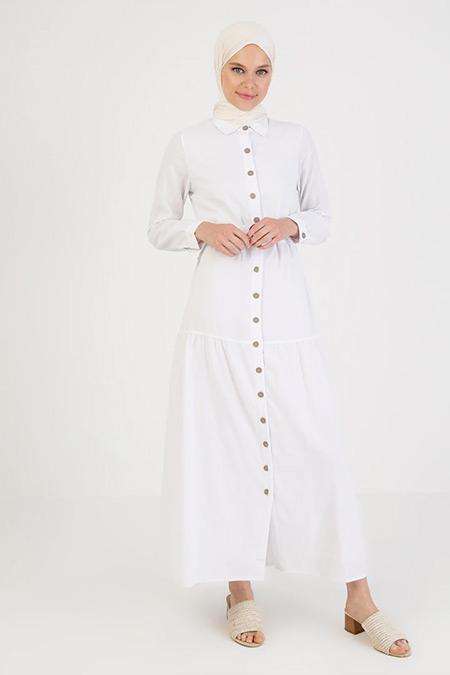 Elis Şile Bezi Beyaz Düğmeli Şile Bezi Elbise
