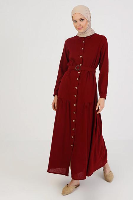 Elis Şile Bezi Bordo Düğmeli Şile Bezi Elbise