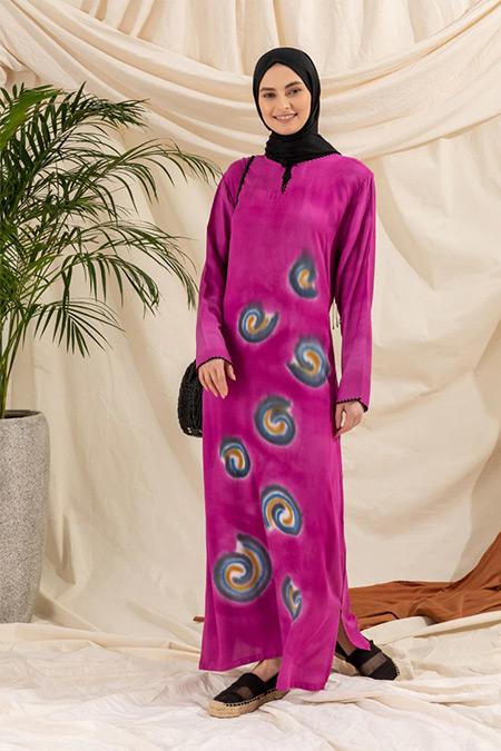 Elis Şile Bezi Fuşya Desenli Şile Bezi Elbise