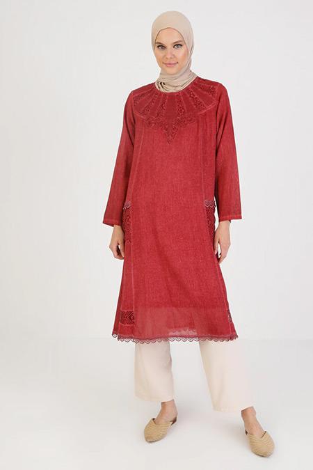 Elis Şile Bezi Gül Kurusu Desenli Cep Detaylı Şile Bezi Elbise