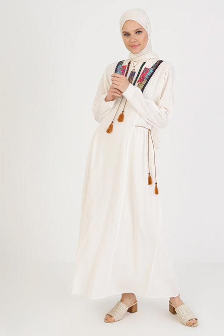 Elis Şile Bezi Krem Nakış Detaylı Şile Bezi Elbise