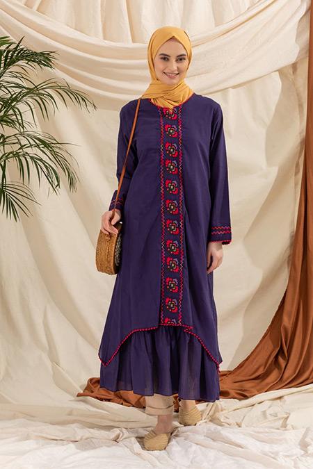 Elis Şile Bezi Mor Nakış Detaylı Şile Bezi Elbise