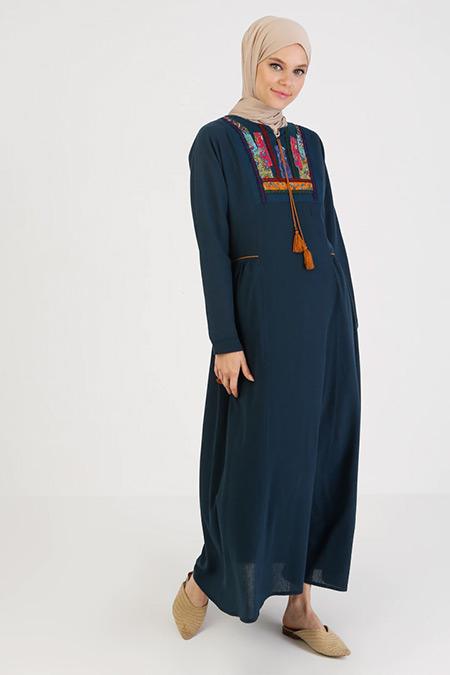Elis Şile Bezi Petrol Nakış Detaylı Şile Bezi Elbise