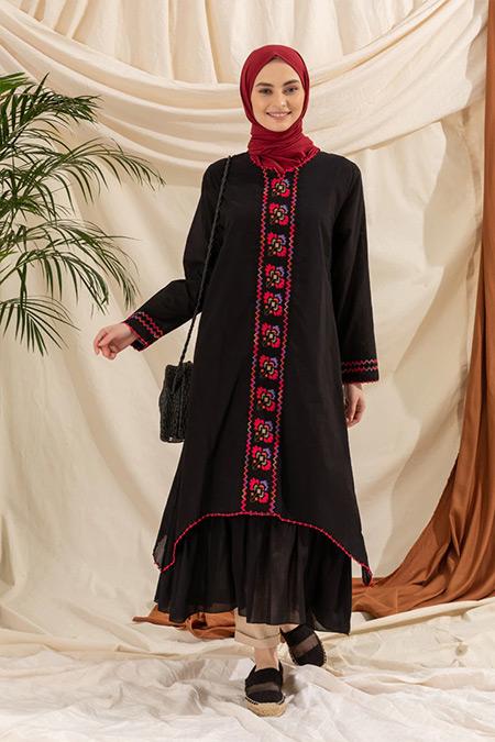 Elis Şile Bezi Siyah Nakış Detaylı Şile Bezi Elbise