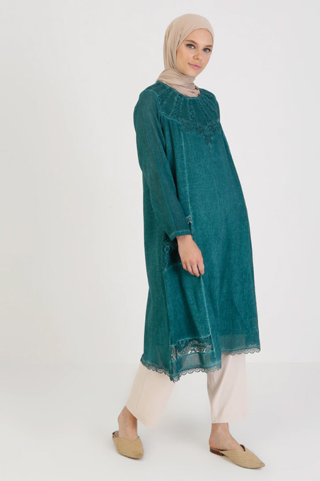 Elis Şile Bezi Su Yeşili Desenli Cep Detaylı Şile Bezi Elbise