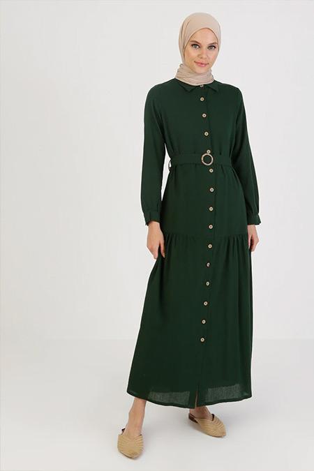 Elis Şile Bezi Yeşil Düğmeli Şile Bezi Elbise