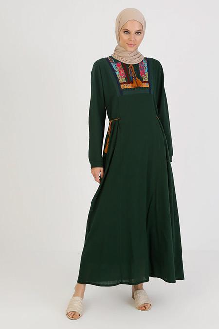 Elis Şile Bezi Yeşil Nakış Detaylı Şile Bezi Elbise