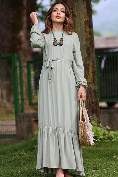 Esra Üstün Haki Doğal Kumaşlı Elbise