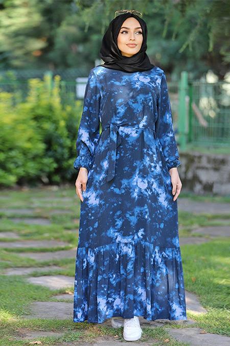 Esra Üstün Lacivert Batik Elbise