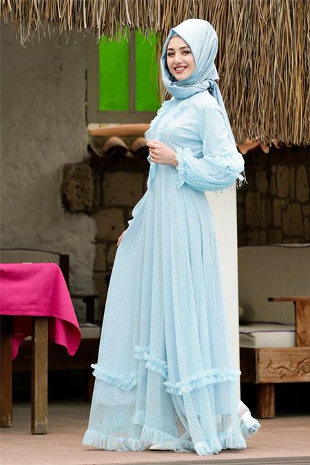 Lavienza Bebe Mavisi Petek Dantel Abiye Elbise