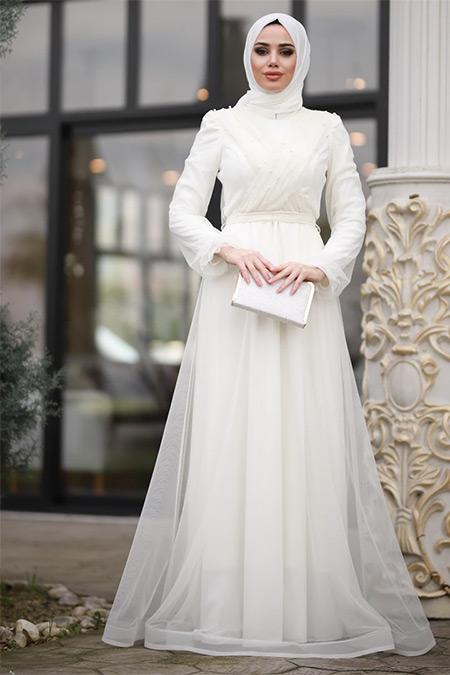 Lavienza Ekru İncili Nikah Elbisesi