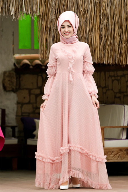 Lavienza Pudra Petek Dantel Abiye Elbise