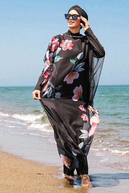 Marina Mayo Çok Renkli Desenli Plaj Elbisesi