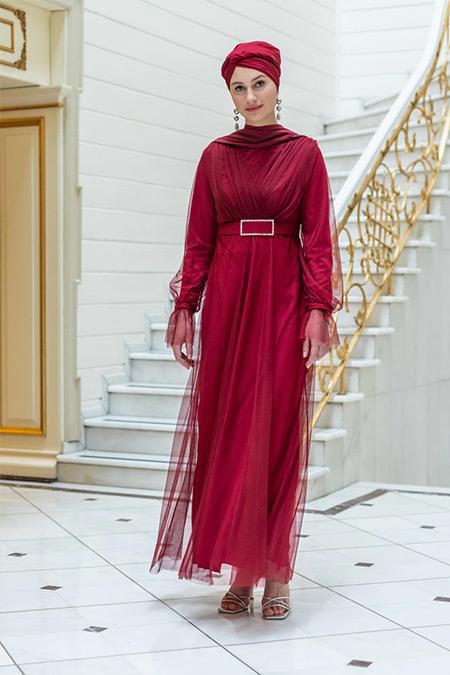 Meksila Bordo Kemer Detaylı Tüllü Abiye Elbise