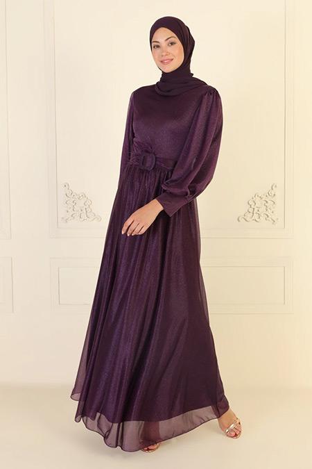 Meksila Mor Kemer Detaylı Pırıltılı Abiye Elbise