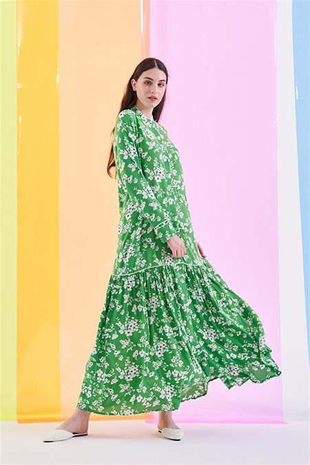 Merve Dağlı Yeşil Çiçek Desenli Elbise