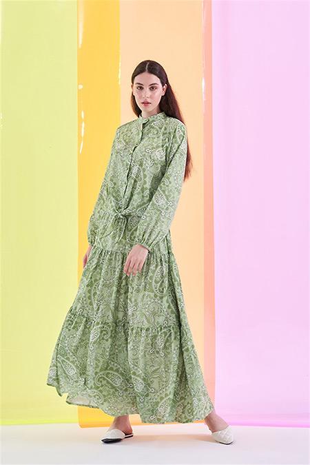 Merve Dağlı Yeşil Desenli Etekli Takım
