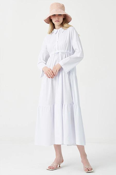Modaamira Beyaz Dokuma Poplin Beli Büzgülü Elbise