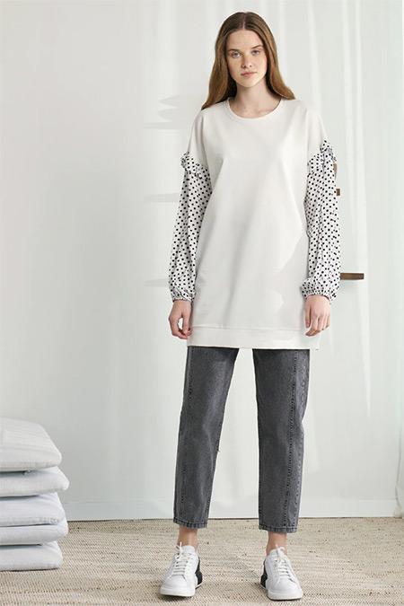Modaamira Ekru Puantiye Detaylı Sweatshirt