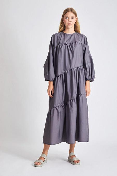 Modaamira Gri Salaş Elbise