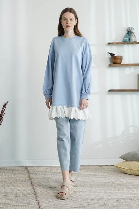 Modaamira Mavi Dantelli Sweatshirt