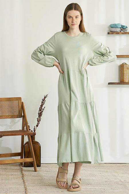Modaamira Mint Yeşili Düz Renkli Elbise