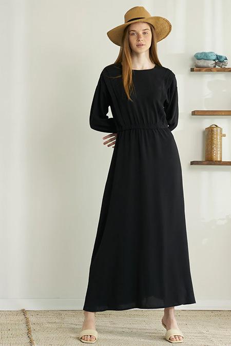 Modaamira Siyah Beli Lastikli Elbise