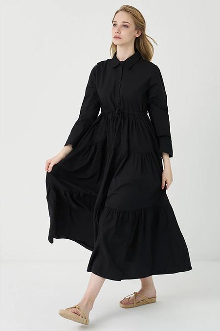 Modaamira Siyah Dokuma Poplin Beli Büzgülü Elbise