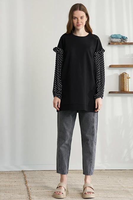 Modaamira Siyah Puantiye Detaylı Sweatshirt
