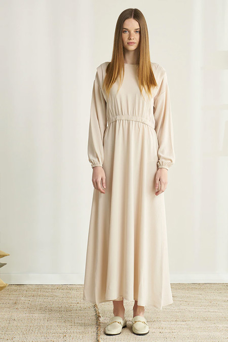 Modaamira Taş Beli Lastikli Elbise
