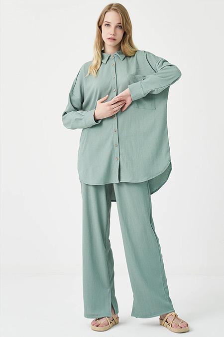 Modaamira Yeşil Crincle Gömlek&Pantolon İkili Takım