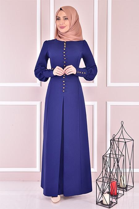 Modamerve İndigo Düğmeli Elbise