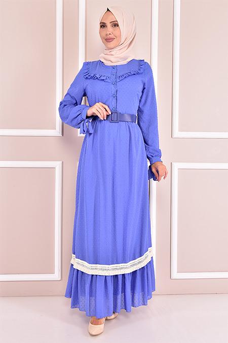 Modamerve İndigo Kemerli Elbise