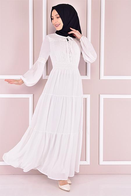 Modamerve Beyaz Şifon Elbise