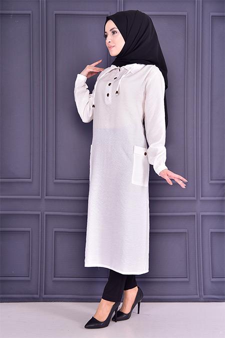 Modamerve Beyaz Düğmeli Tunik