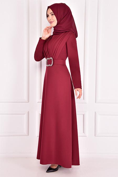 Modamerve Bordo Kemerli Elbise