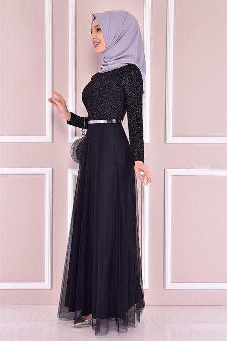 Modamerve Simli Siyah Elbise