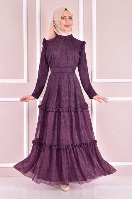 Modamerve Simli Mor Abiye Elbise